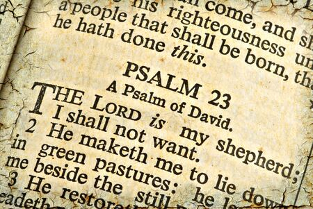 Holy Scripture of Psalm 23. Texture and age effects software created.
