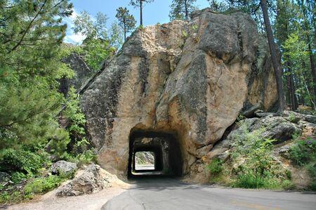 south dakota: A tunnel in the Black Hills of South Dakota. Stock Photo