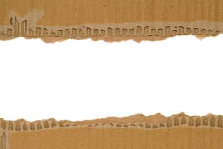 Corrugated cardboard border with a white area for text. photo