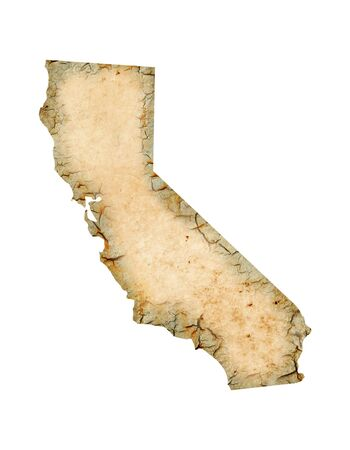 Grunged California map isolated on a white background.
