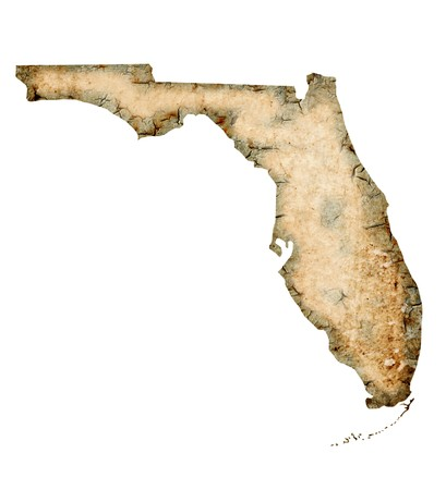 Grunged Florida map isolated on a white background.