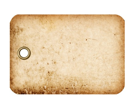 A grungy blank tag with a metal grommet isolated against a white background.