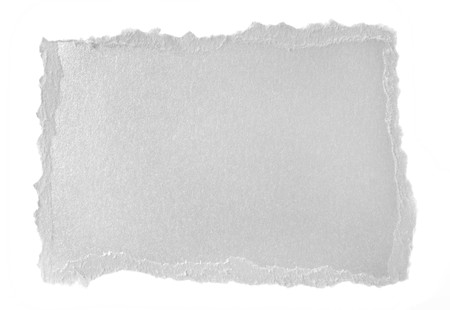 metalic: Shiny silver paper scrap isolated on a white background. Stock Photo