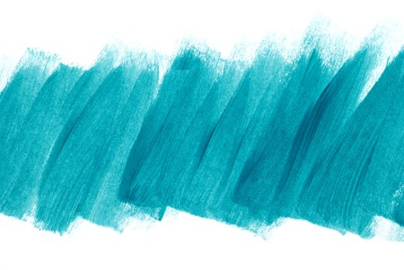 Blue green brush strokes on white paper. My own work. Stock Photo