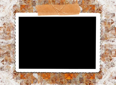 coordinating: Blank photo on a modern abstract stucco textured background with color coordinating tape. Stock Photo