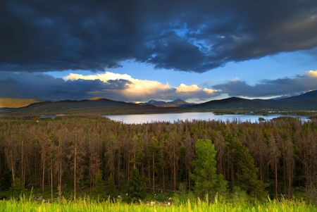 lake dillon: Sunset on Dillon Lake in Colorado. Dying evergreen trees in the foreground damaged by mountain pine beetles.
