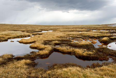 tundra: Dark and moody Colorado tundra landscape under a stormy sky.