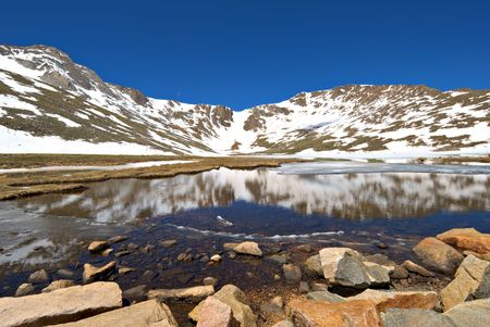 mount evans: Summit Lake along the Mount Evans road in Colorado. Stock Photo