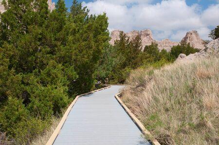 Cliff Shelf Nature Trail along the Badlands National Park Loop Road in South Dakota  photo