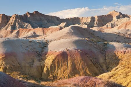 Yellow mounds in the Badlands National Park, South Dakota  photo