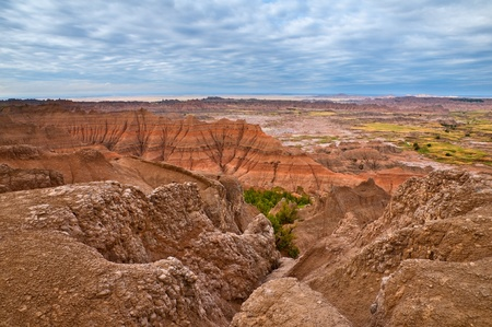 Scenery from the Badlands National Park in South Dakota  photo