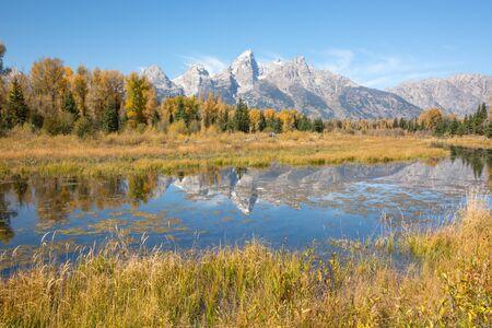 teton: Teton mountain range from Schwabachers Landing in the Grand Teton National Park, Wyoming. Stock Photo