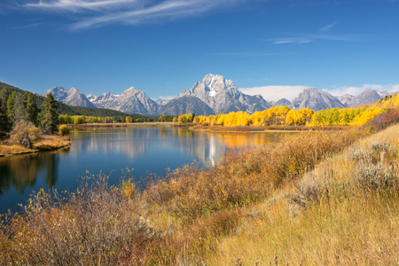 oxbow: Mount Moran at Oxbow Bend in the Grand Teton National Park, Wyoming.