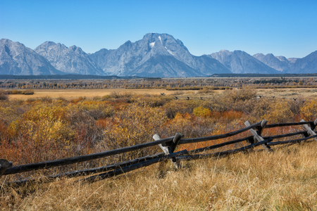 wyoming: Mount Moran near the Cunningham cabin in the Grand Teton National Park Wyoming during the autumn season. Stock Photo