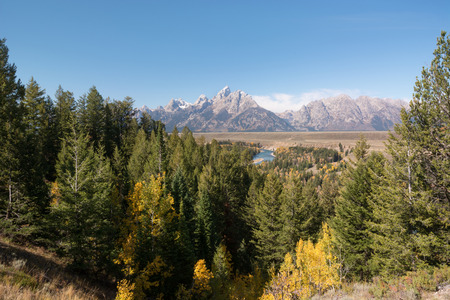 overlook: Grand Teton mountain range viewed from the Snake River overlook.