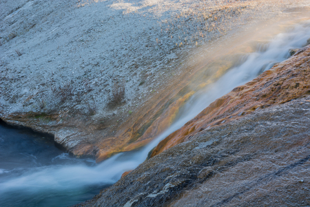excelsior: Run off from Excelsion Geyser Crater at Midway Geyser Basin in Yellowstone National Park, Wyoming. Stock Photo