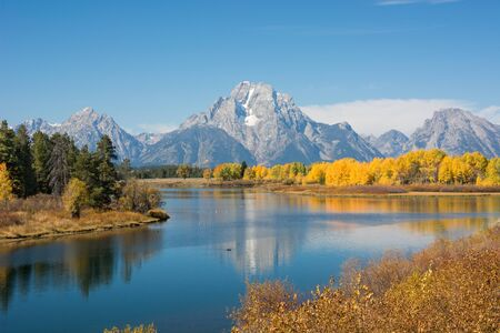 oxbow: Scenery at Oxbow Bend in the Grand Teton National Park, Wyoming.