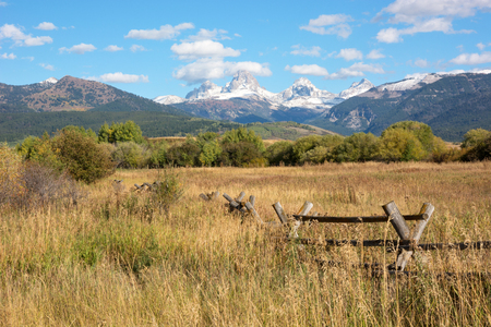 west: Grand Teton mountain range viewed from Idaho. Stock Photo