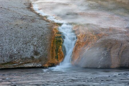 excelsior: Overflow cascade from the Excelsior Geyser Crater in the Midway Geyser Basin of Yellowstone National Park, Wyoming.
