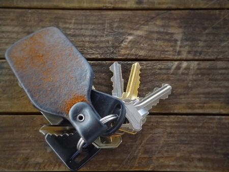 Set of keys on leather keychain