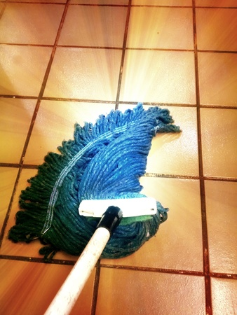 Blue Yarn Mop Mopping Tile Floor Stock Photo Picture And Royalty