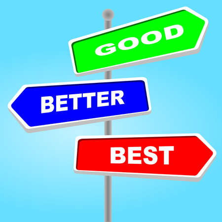 Direction sign - good better best