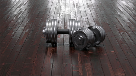 Dumbbells on floor