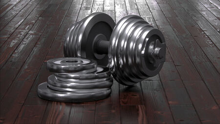Dumbbells on floor Stock Photo - 32423657