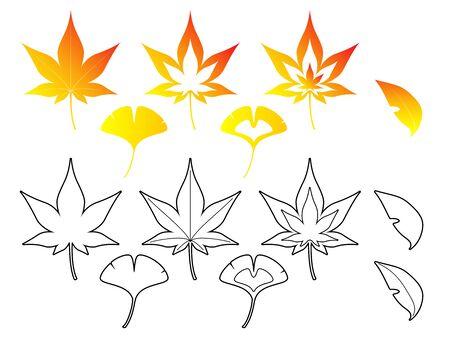 fallen: Fallen leaves set Illustration