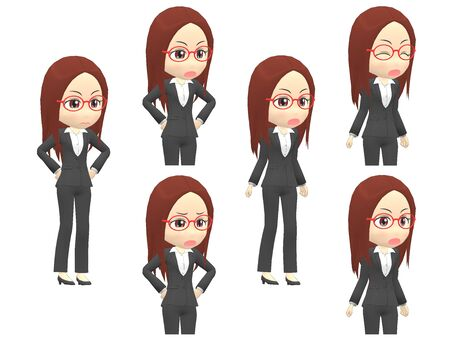 [Angry A] Woman A suit oblique angle Stok Fotoğraf
