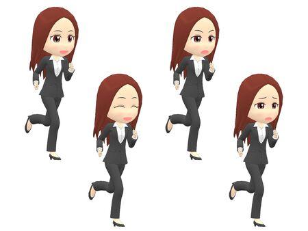 Run Woman A suit oblique angle Stok Fotoğraf