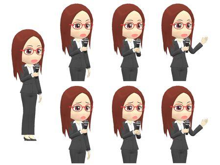 Microphone B Woman A suit oblique angle