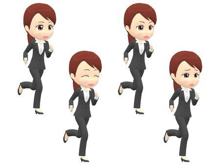 Run Woman B suit oblique angle 스톡 콘텐츠