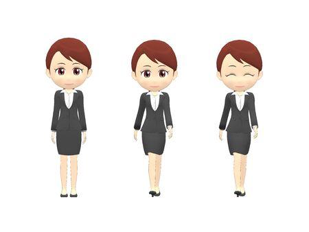 Walk Woman B suit front 스톡 콘텐츠