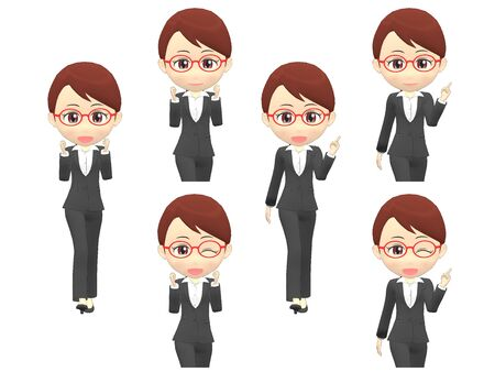 Walk Pose A Woman B suit front 스톡 콘텐츠