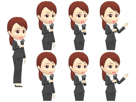 Microphone B Woman B suit oblique angle