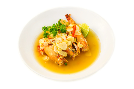 traditonal: Boiled king prawns with garlic. isolated on white. Thai traditonal food.