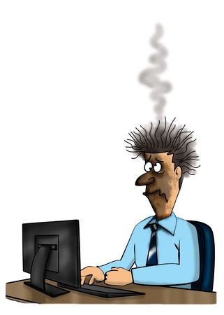illustration of computer burn out