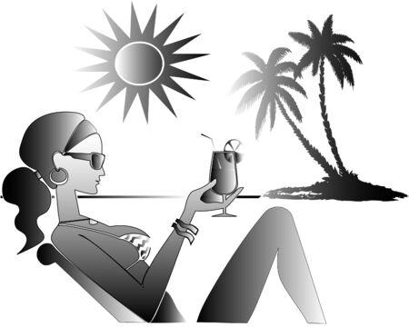 tropical drink: ilustraci�n vectorial de la ni�a que relajaba en la playa Vectores