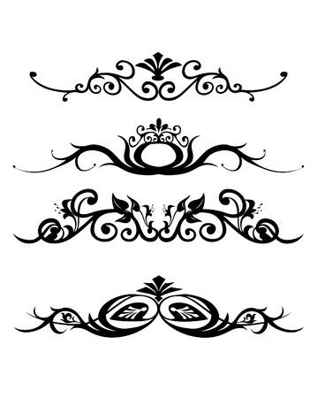 tatouage art: illustration vectorielle r�sum� floral de banni�res