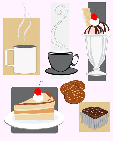 illustration of assorted cafe snacks Stock Vector - 8727494