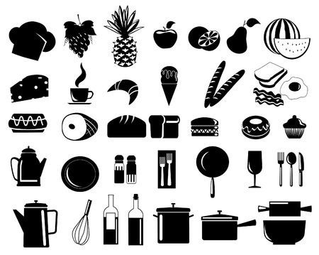 pane e vino: illustrazione delle icone di cibo assortiti