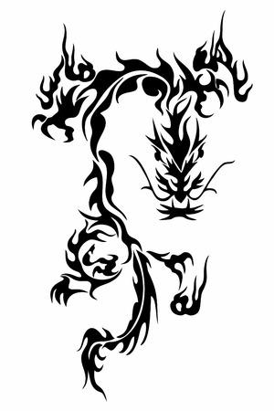 tribal dragon:  illustration of a traditional chinese dragon Illustration