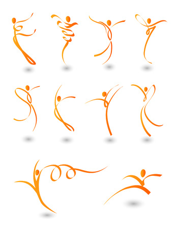 acrobatic: illustration of abstract figures in motion Illustration