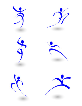 modern  dance: illustration of abstract figures in motion Illustration