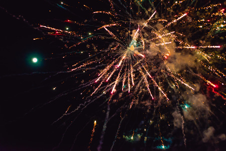 New Year's fireworks in the sky. background Banque d'images - 112826971