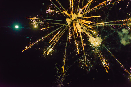 New Year's fireworks in the sky. background Banque d'images - 112826974