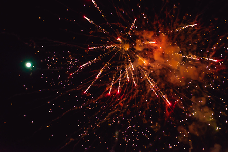 New Year's fireworks in the sky. background Banque d'images - 112826977