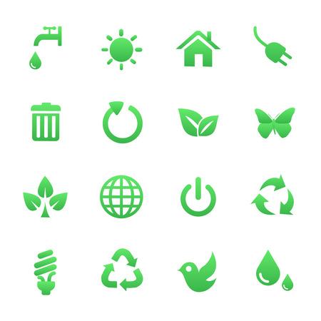 icone sanit�: Icone di salute Green Set Vettoriali