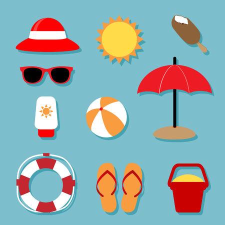 sun block: Summer Relaxing Icons Set Illustration